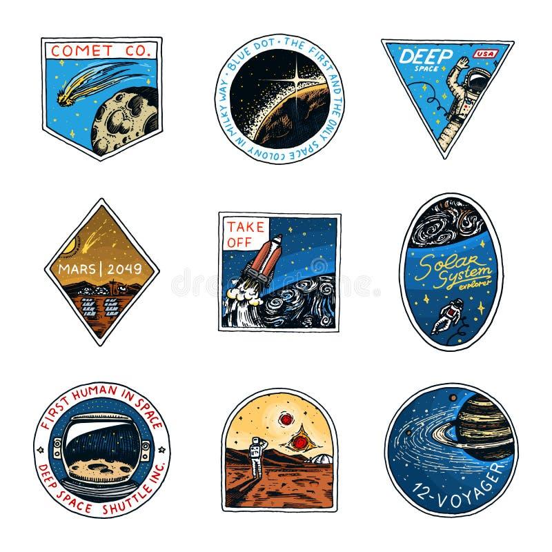 Astronautyczny logo Eksploracja astronomiczny galaxy Misja Mars Astronauta lub kosmita przygoda Planety i ilustracja wektor