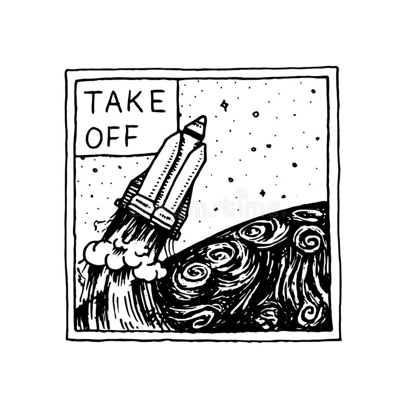 Astronautyczny logo z rakietą Eksploracja astronomiczny galaxy misja kosmita kosmonauta przygoda Planeta i ilustracji