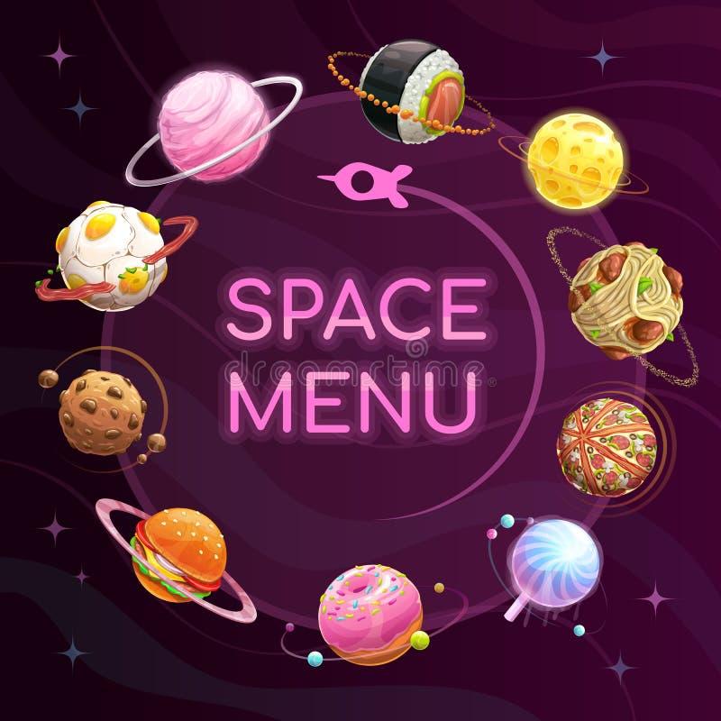 Astronautyczny menu szablon Jedzenie planetuje plakat Wektorowy tło royalty ilustracja