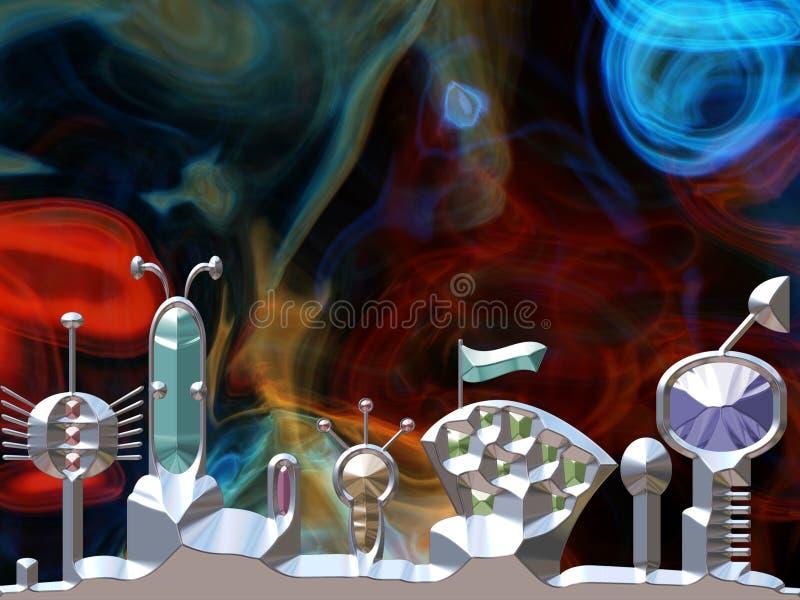 Astronautyczny miasto z przestrzenią w tle royalty ilustracja