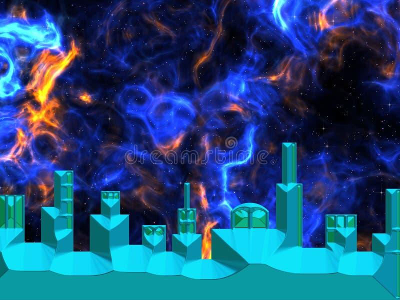 Astronautyczny miasto z przestrzenią w tle ilustracja wektor