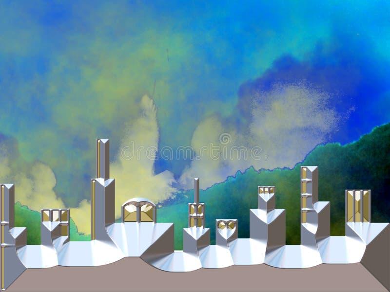 Astronautyczny miasto z przestrzenią w tle ilustracji