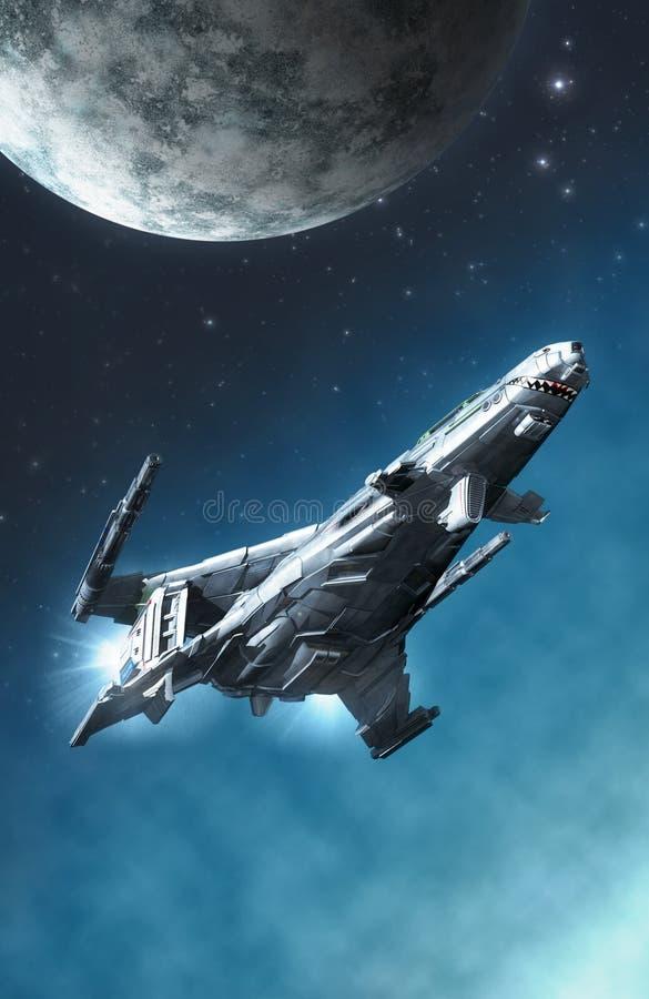 Astronautyczny myśliwski statek kosmiczny i księżyc ilustracji