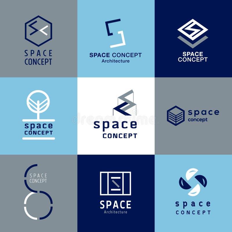 Astronautyczny pojęcie architektury logo royalty ilustracja