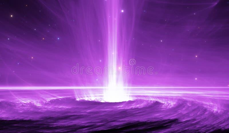 Astronautyczny przedmiot z energia pozaziemskim promieniem Czarna dziura strzela out osocze strumienie royalty ilustracja