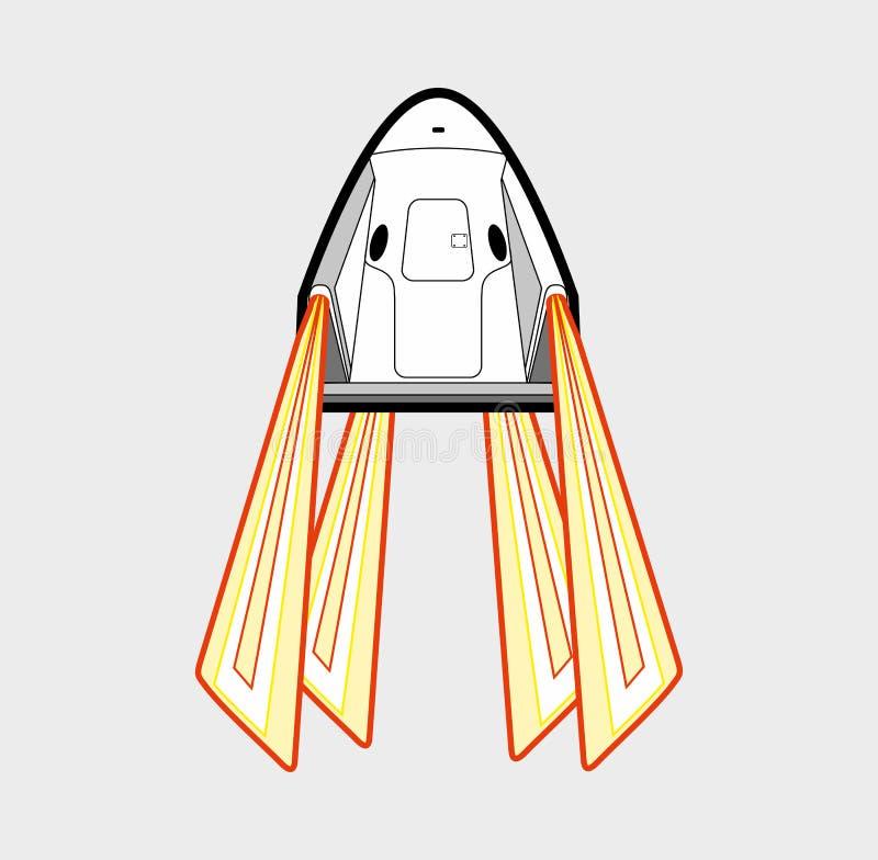Astronautyczny rzemios?o, rakietowy wodowanie 2019 Wektoru odosobniony statek kosmiczny Futurystyczna sztuka, rakietowa wszczyna  ilustracji