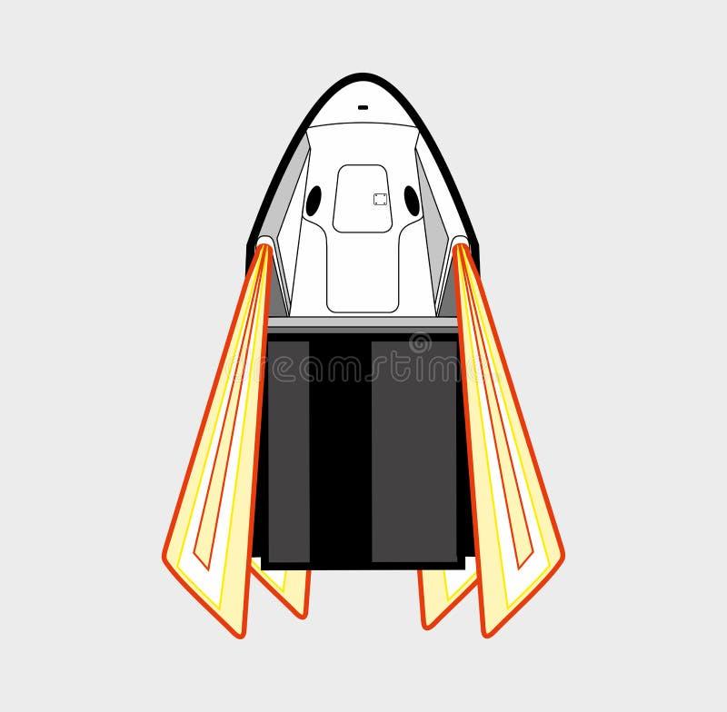 Astronautyczny rzemios?o, rakietowy wodowanie 2019 Wektoru odosobniony statek kosmiczny Futurystyczna sztuka, rakietowa wszczyna  royalty ilustracja