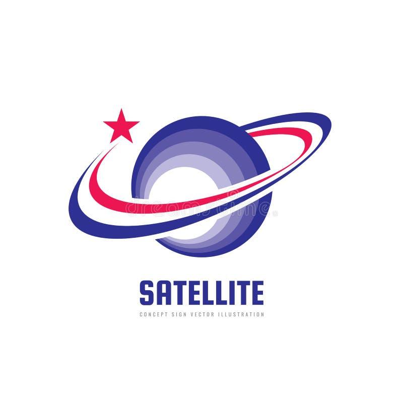 Astronautyczny satelitarny wektorowy logo w klasycznym grafika stylu Astronomia znak Abstrakt planetuje symbol Układu Słonecznego royalty ilustracja