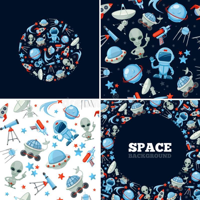Astronautyczny symbolu plik astronauta, obcy charakterów moonwalkers rakiety planety księżyc teleskop i spiceman, ilustracja wektor
