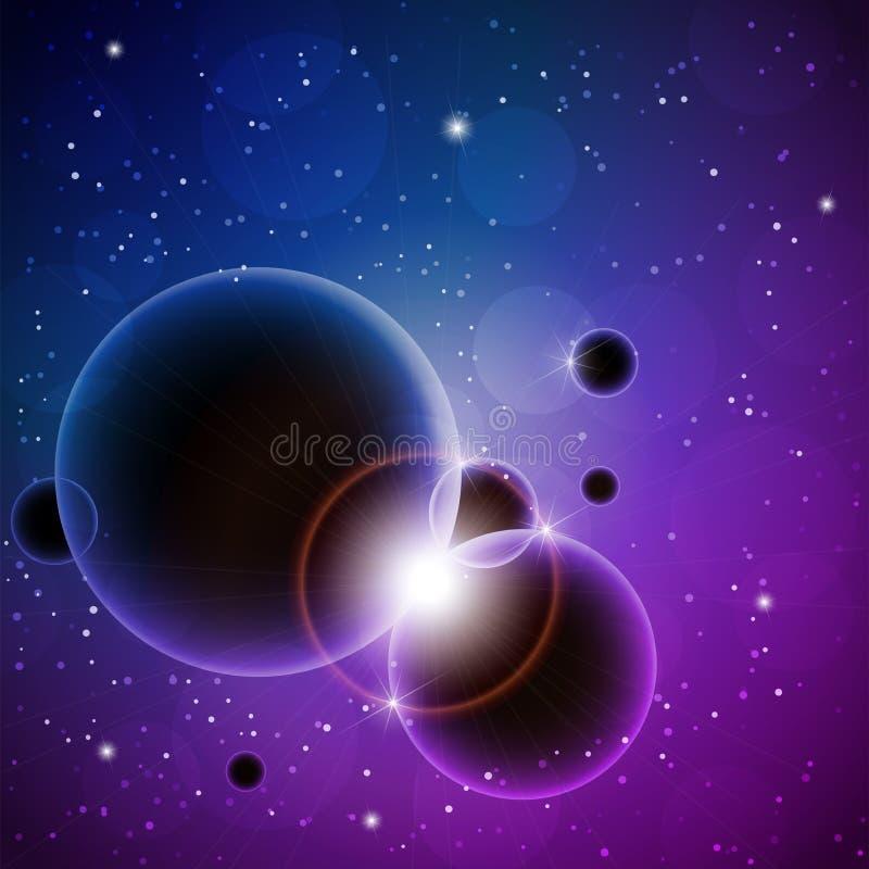 Astronautyczny tło z planetami, gwiazdami i olśniewającymi promieniami, również zwrócić corel ilustracji wektora ilustracja wektor