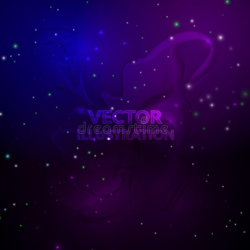 Astronautyczny tło Nebulas i jaśnienie gwiazdy również zwrócić corel ilustracji wektora royalty ilustracja