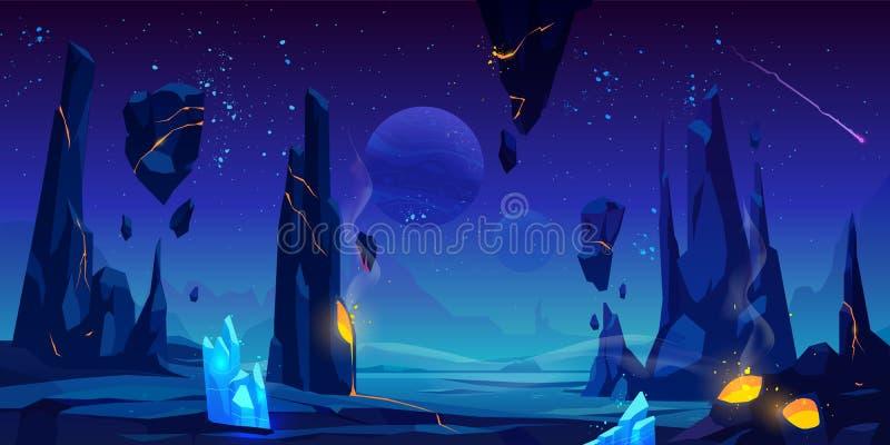 Astronautyczny tło, nocy fantazji obcy krajobraz ilustracja wektor