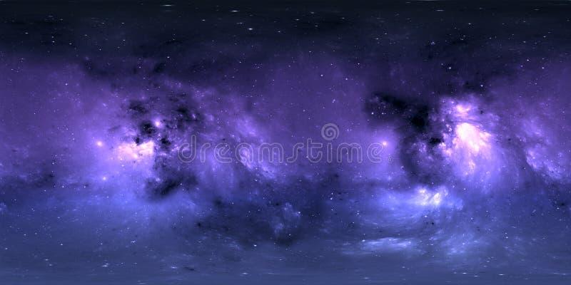 Astronautyczny tło z mgławicą i gwiazdami Panorama, środowiska 360 HDRI mapa Equirectangular projekcja, bańczasta panorama royalty ilustracja