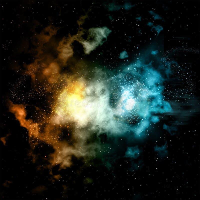 Astronautyczny tło z ogienia i lodu skutkiem ilustracji