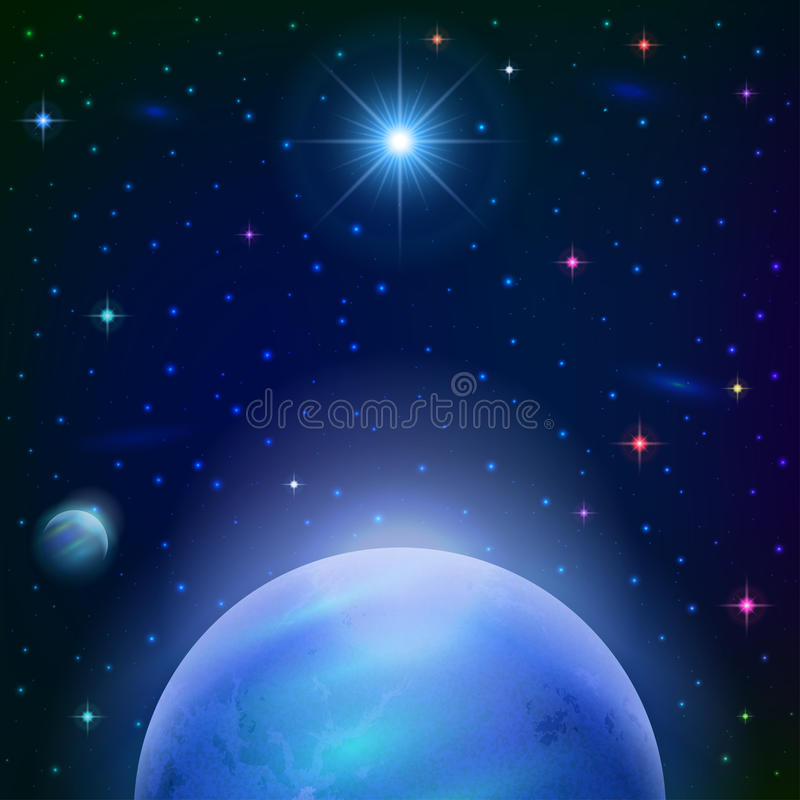 Astronautyczny tło z planetą i słońcem royalty ilustracja