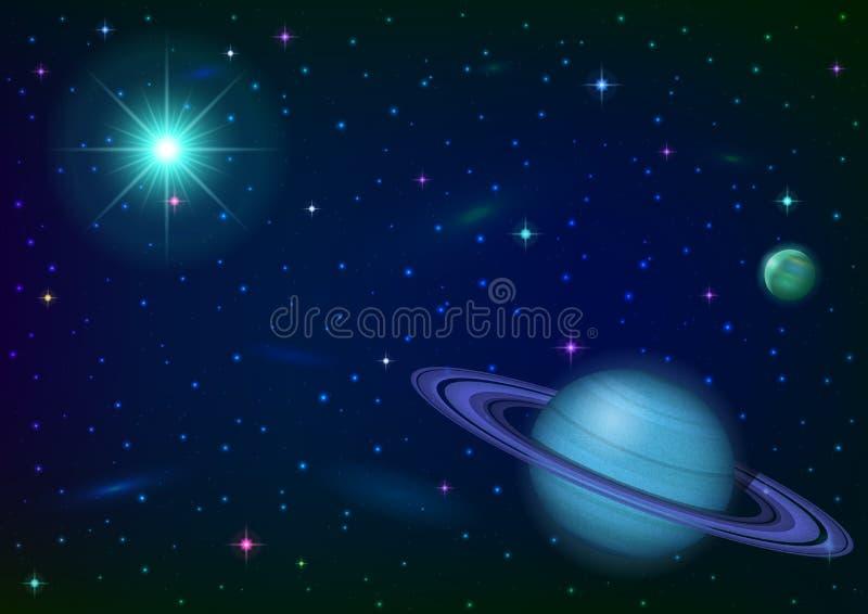 Astronautyczny tło z planetą i słońcem ilustracji
