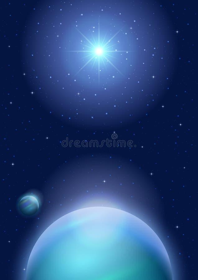 Astronautyczny tło z planetą i słońcem ilustracja wektor