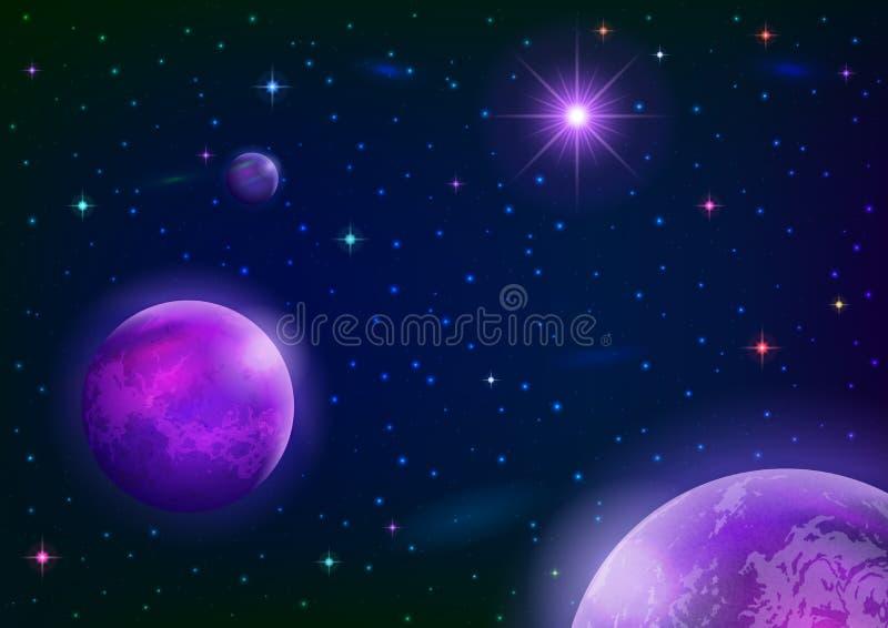 Astronautyczny tło z planetami i gwiazdą ilustracja wektor