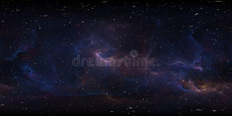 Astronautyczny t?o z mg?awic? i gwiazdami ?rodowiska 360 HDRI mapa Equirectangular projekcja, ba?czasta panorama ilustracji