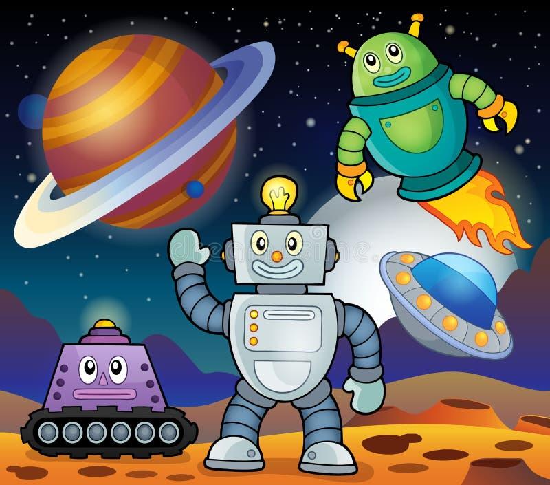 Astronautyczny temat z robotami 1 ilustracja wektor