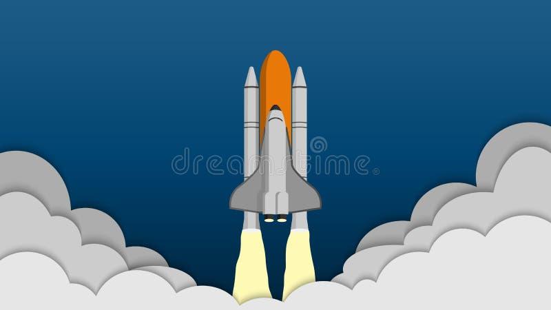 Astronautyczny wahadłowiec bierze daleko na misi, statek kosmiczny w niebo ilustracja wektor