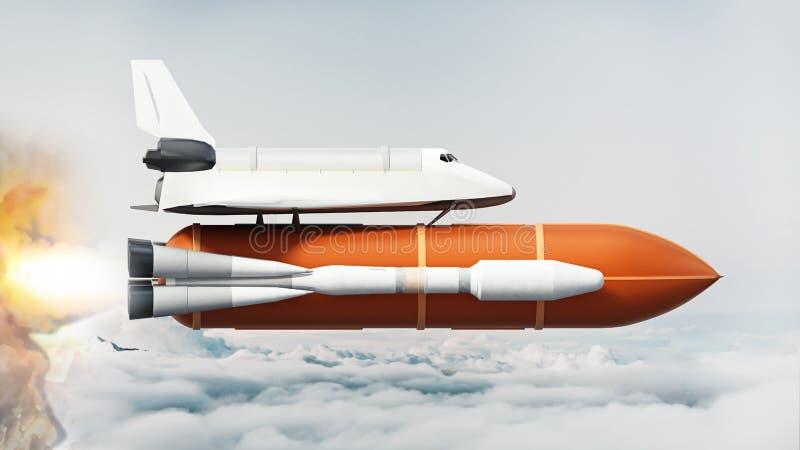 Astronautyczny wahadłowiec na rakietowym chodzeniu nad chmury ilustracja 3 d ilustracji