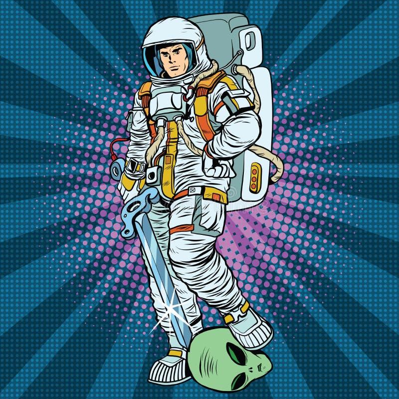 Astronautyczny wojownik jest zwycięzcy obcym royalty ilustracja
