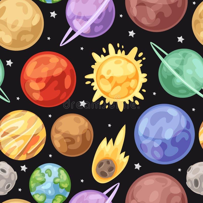 Astronautyczny wszechświat planetuje bezszwowego wektoru wzór na ciemnym tle Przestrze?, gwiazdy, planety Słońce, ziemia, Upiter  ilustracji