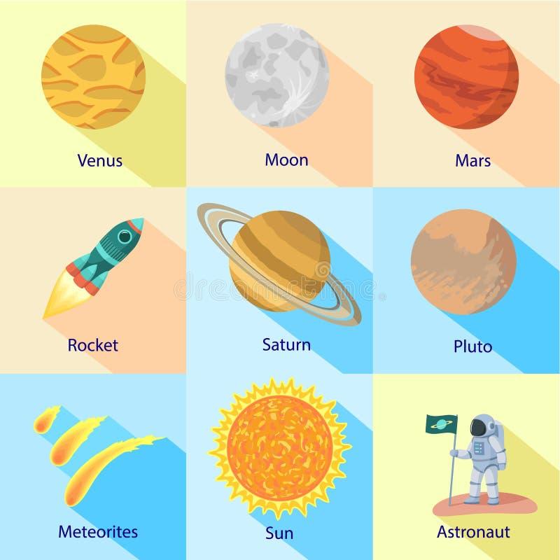 Astronautyczny wyprawy ikony set, mieszkanie styl ilustracja wektor