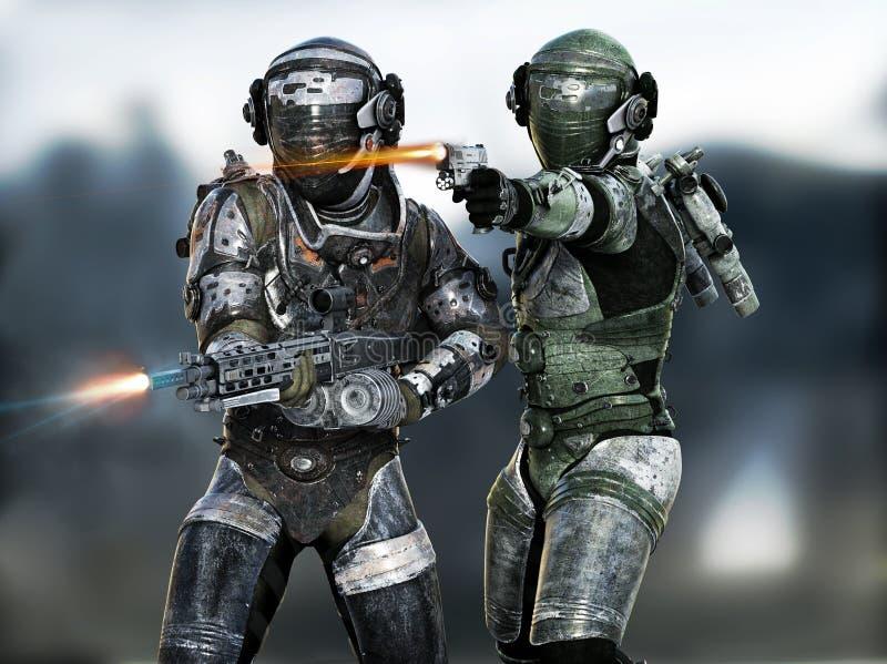 Astronautycznych żołnierzy piechoty morskiej pożarnicza drużyna angażuje wroga na misi royalty ilustracja