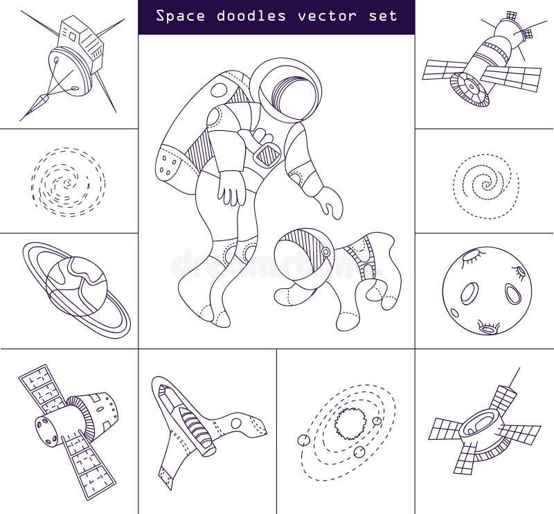 Astronautycznych doodle elementów wektoru kreskowy set ilustracja wektor