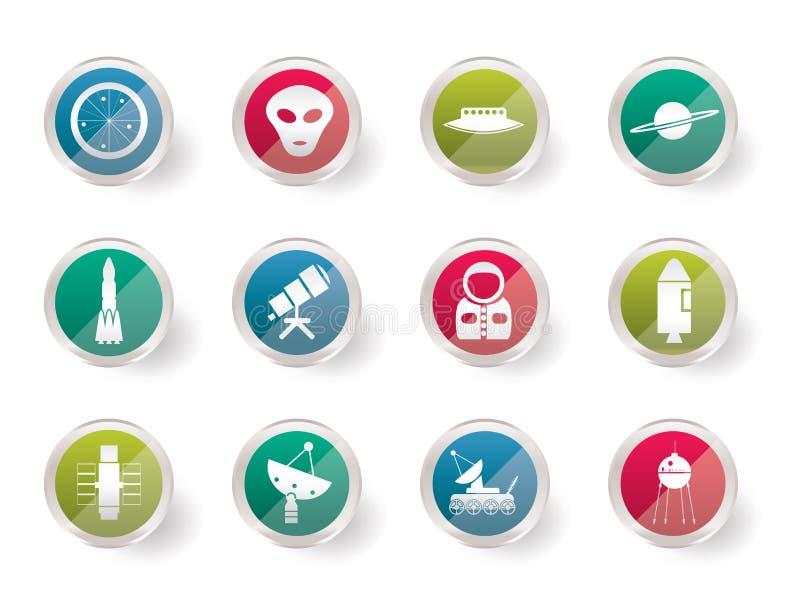 Astronautyka i przestrzeni ikony nad barwionym tłem ilustracji