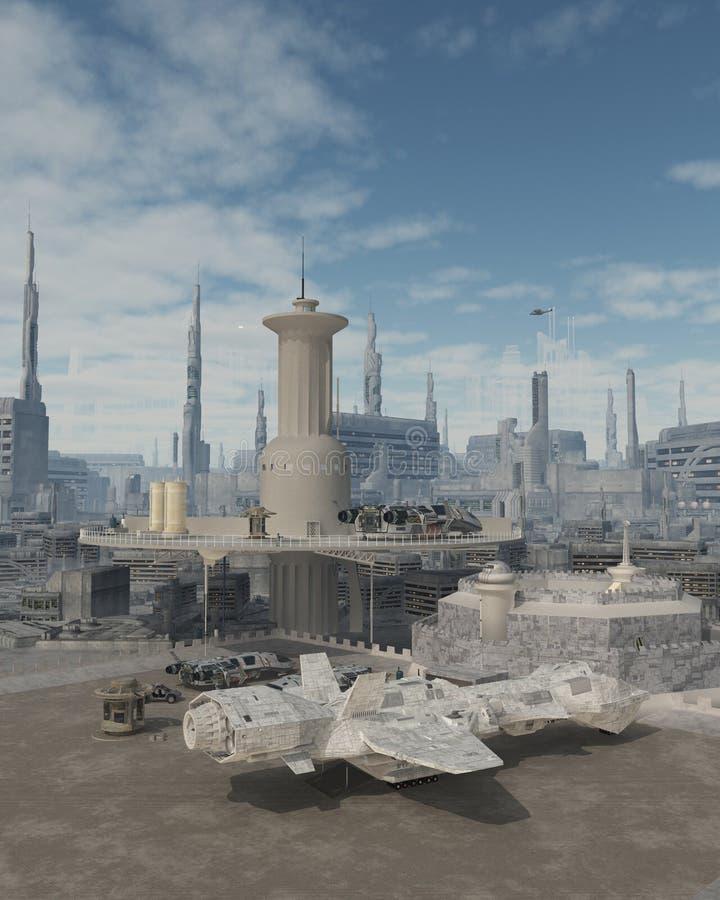 Astronave ad uno spazioporto futuro della città illustrazione di stock