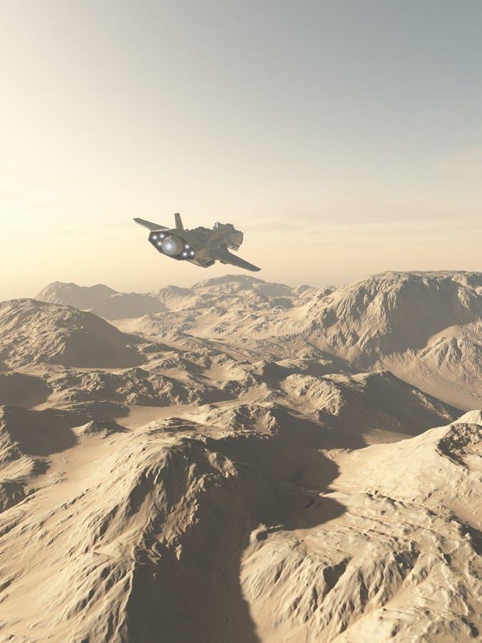 Astronave che sorvola le montagne su un pianeta del deserto royalty illustrazione gratis