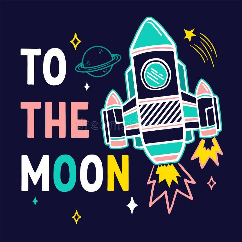 Astronave con la frase d'avanguardia per la stampa illustrazione vettoriale