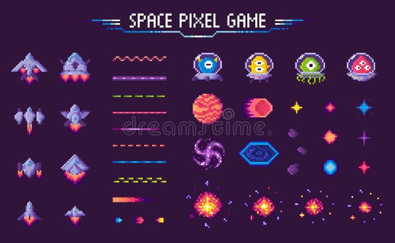 Astronave del gioco del pixel dello spazio ed insieme del mosaico delle piante royalty illustrazione gratis