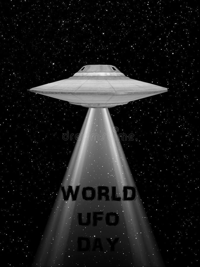 Astronave di volo del UFO Giorno del UFO del mondo Disco volante rappresentation di ed UFO con una luce royalty illustrazione gratis