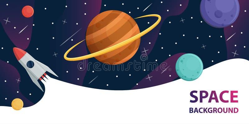 Astronave nella galassia con i pianeti, fondo dello spazio di vettore delle stelle illustrazione vettoriale