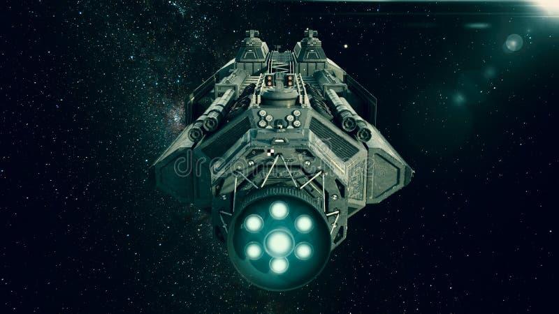 Astronave nello spazio, volo del veicolo spaziale attraverso l'universo illustrazione di stock