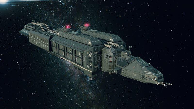 Astronave nello spazio, volo del veicolo spaziale attraverso l'universo con una stella luminosa nella distanza illustrazione di stock