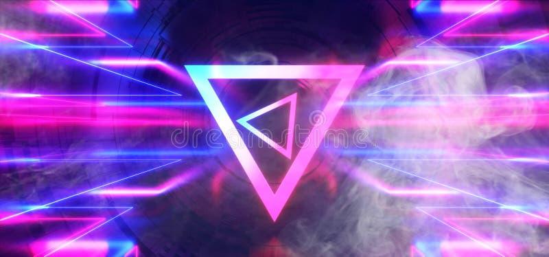Astronave straniera blu d'ardore al neon di porpora portale di pendenza del portone del cerchio della sfera del triangolo di Sci  illustrazione vettoriale
