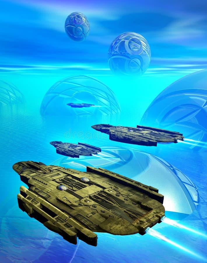 Astronavi che sorvolano un habitat straniero su un pianeta blu con atmosfera e l'oceano, illustrazione 3d illustrazione di stock