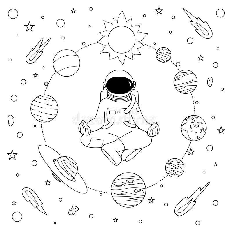 Astronoaut dibujado mano que hace la meditación ilustración del vector