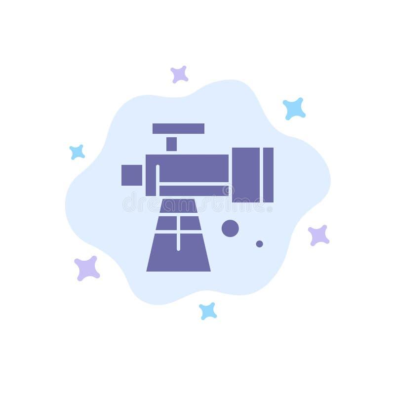 Astronomía, alcance, espacio, icono azul del telescopio en fondo abstracto de la nube libre illustration
