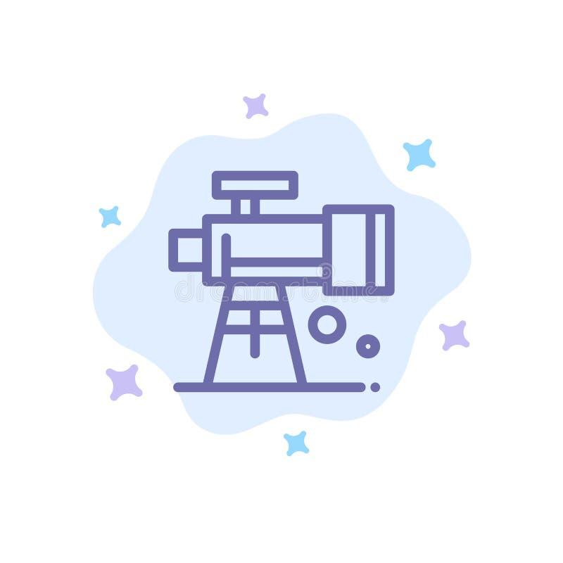 Astronomía, alcance, espacio, icono azul del telescopio en fondo abstracto de la nube ilustración del vector
