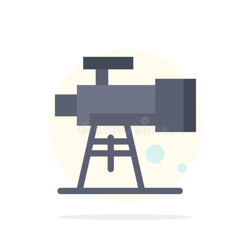 Astronomía, alcance, espacio, icono plano del color de fondo del círculo del extracto del telescopio stock de ilustración