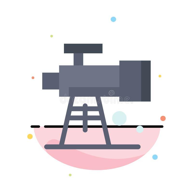 Astronomía, alcance, espacio, plantilla plana del icono del color del extracto del telescopio stock de ilustración