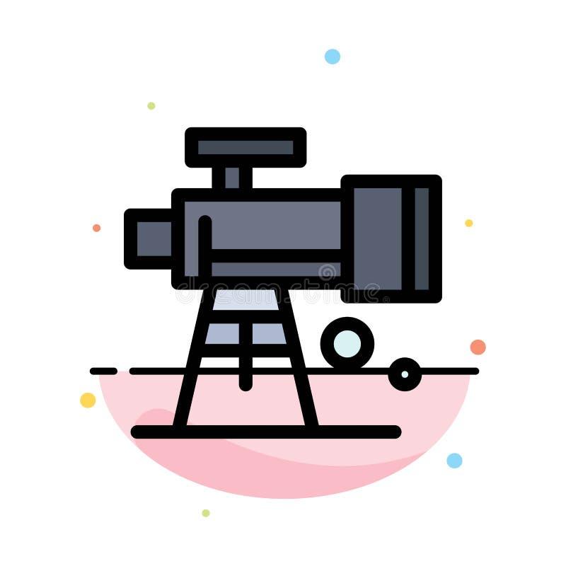 Astronomía, alcance, espacio, plantilla plana del icono del color del extracto del telescopio ilustración del vector