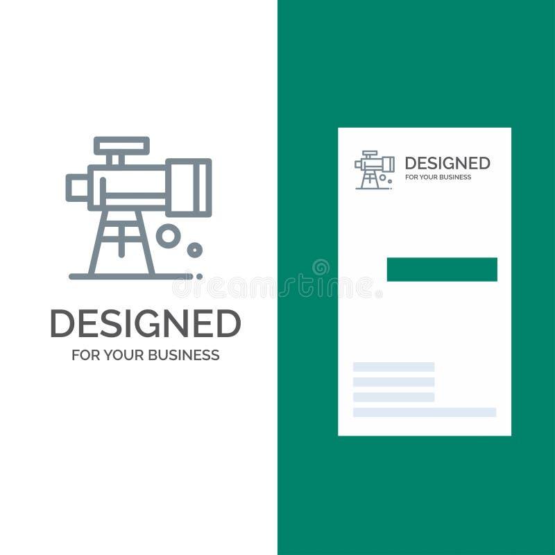Astronomía, alcance, espacio, telescopio Grey Logo Design y plantilla de la tarjeta de visita stock de ilustración