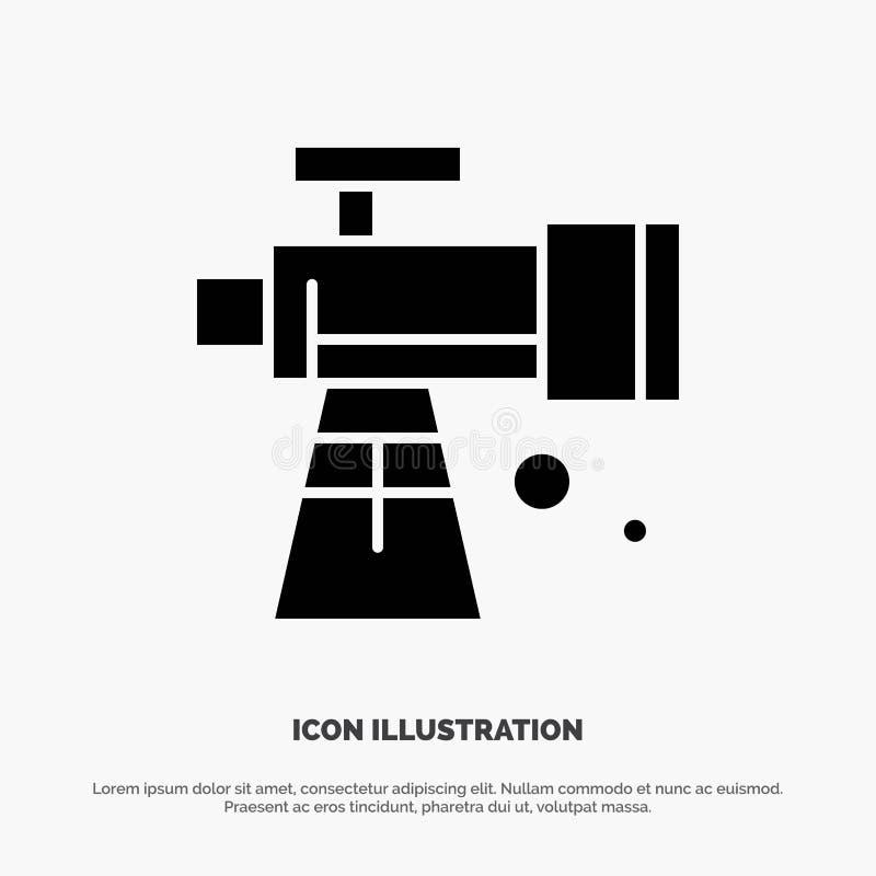 Astronomía, alcance, espacio, vector sólido del icono del Glyph del telescopio stock de ilustración